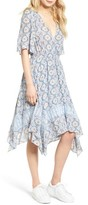 Moon River Women's Print Handkerchief Hem Midi Dress