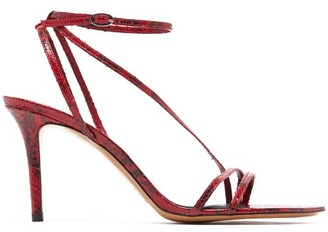 Isabel Marant Axee Python-effect Leather Sandals - Womens - Red