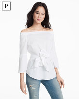 White House Black Market Petite White Off-the-Shoulder Bell-Sleeve Poplin Top