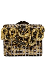 Roberto Cavalli Snake With Flowers Brass Cage Clutch