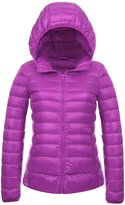 CHERRY CHICK Women's Packable Down Jacket with Hood Dark Purple