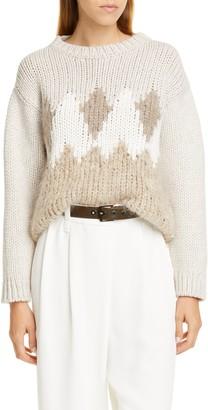 Brunello Cucinelli Sequin Argyle Wool, Cashmere & Silk Sweater