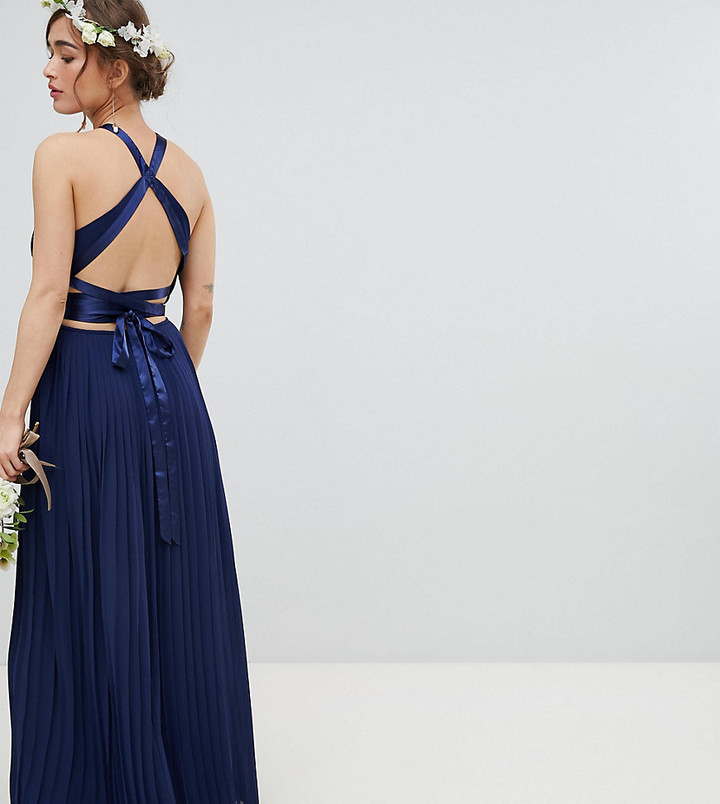 TFNC Petite Petite Pleated Maxi Bridesmaid Dress with Cross Back and Bow Detail-Navy