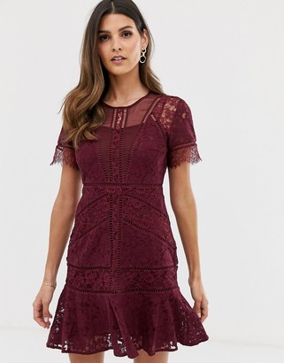 French Connection Chante lace midi dress-Red