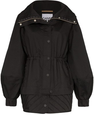 Ganni front-button military jacket