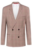 HUGO BOSS - Extra Slim Fit Checked Jacket With Double Breasted Closure - Beige