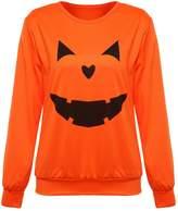 FUNOC Women Halloween Pumpkin Print Long Sleeve Sweatshirt Tops T-shirt