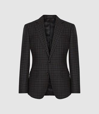 Reiss Livesey - Checked Slim Fit Blazer in Black/brown
