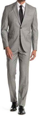 Ted Baker Roger Gray Sharkskin Two Button Notch Lapel Trim Fit Suit