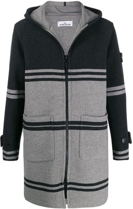 Stone Island stripe patterned knitted coat