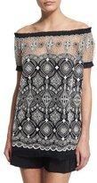 Naeem Khan Off-The-Shoulder Embroidered Peasant Top, Coral/White