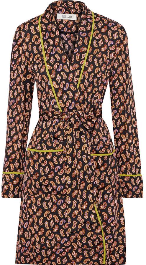 Diane von Furstenberg Valeria Printed Silk-blend Crepe Kimono