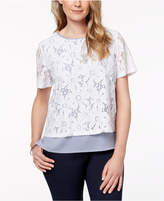 Alfred Dunner Petite Layered-Look Lace Pinstriped Top