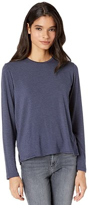 Majestic Filatures Soft Touch Striped Long Sleeve Crew Neck (Denim Chine/Marine) Women's Clothing