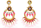 Elizabeth Cole 24-karat gold-plated Swarovski crystal and faux pearl resin earrings