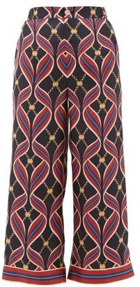 Gucci Gg Ribbon Print Silk Wide Leg Trousers - Womens - Navy Multi