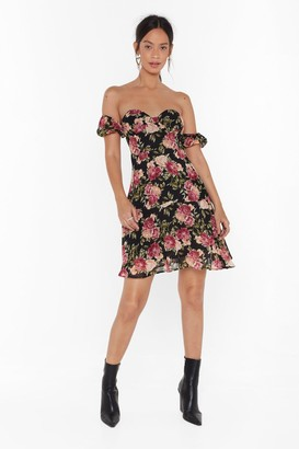 Nasty Gal Womens How Will I Grow Floral Off-the-Shoulder Dress - black - 4