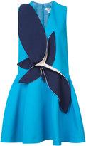 DELPOZO contrast patch flared dress - women - Cotton - 36