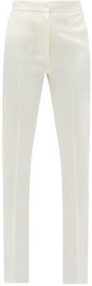 Pallas X Claire Thomson-jonville - Flash Satin-trim Wool-twill Trousers - Womens - White