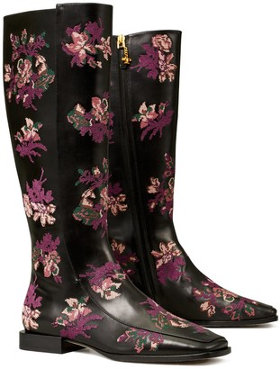 Tory Burch Embroidered Square-Toe Knee Boot