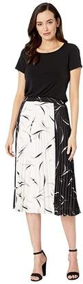 Donna Morgan Short Sleeve Midi Dress with Pleated Chiffon Skirt (White/Black) Women's Clothing