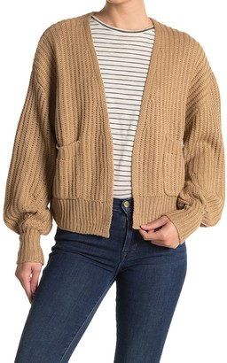 Lush Short Ribbed Open Front Cardi