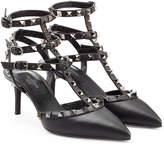 Valentino Rockstud Leather Kitten Heel Pumps