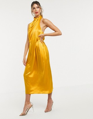 Asos EDITION drape midi dress with open back