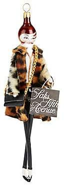 Saks Fifth Avenue De Carlini Soffieria de Carlini x Lady Leopard Faux Fur Coat Saks Shopper Ornament