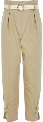 River Island Girls beige belted paperbag trousers