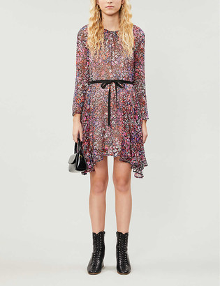 Maje Relana floral-print silk-crepe mini dress