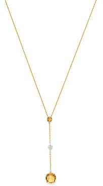Bloomingdale's Citrine & Diamond Y Necklace in 14K Yellow Gold, 16 - 100% Exclusive
