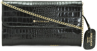 Made In Italy Leather Aleksandra Croc Embossed Crossbody