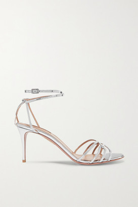 Aquazzura Very First Kiss 75 Metallic Leather Sandals - Silver