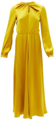 Giambattista Valli Twisted-front Pearl-embellished Silk-satin Dress - Yellow Gold