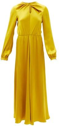 Giambattista Valli Twisted-front Pearl-embellished Silk-satin Dress - Yellow Gold