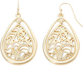 Liz Claiborne Gold-Tone Lacy Teardrop Drop Earrings