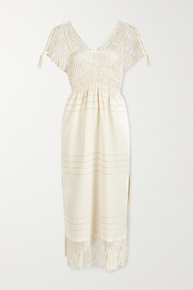 JALINE + Net Sustain Bianca Fringed Macrame-trimmed Cotton Midi Dress - Ecru