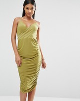 Club L Wrap Front Midi Dress with Cowl Back
