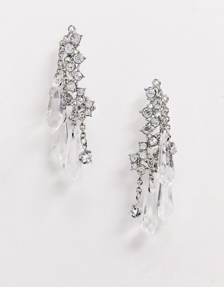 Asos Design DESIGN ear crawlers with crystal and faceted bead drops in silver tone-Clear