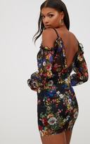 PrettyLittleThing Black Floral Balloon Sleeve Bodycon Dress