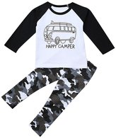 Lestore Baby Boys Long Sleeve Car T-shirt & Camouflage Pants 2pcs Sets (12-18 months)