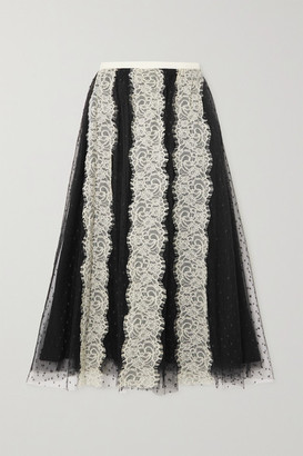 RED Valentino Lace-paneled Point D'esprit Tulle Midi Skirt - Black