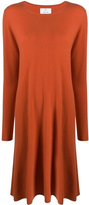 Allude Long-Sleeve Flared Jumper Dress