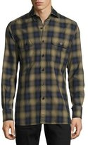 Tom Ford Plaid Oxford Shirt, Green/Blue