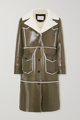 Stand Studio Adele Faux Shearling-trimmed Snake-effect Faux Patent-leather Coat - Black