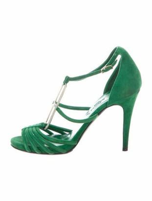 Hermes Suede Crystal Embellishments T-Strap Sandals Green