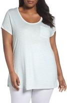 Sejour Plus Size Women's Stripe Pocket Tee