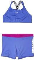 Nike JDI Cross-Back Sport Bikini Shorts Set (Little Kids/Big Kids) (Black) Girl's Swimwear Sets