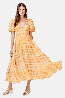 For Love & Lemons Orange Mimosa Maxi Dress